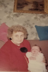 Francine Honey as a baby with her Gandmother